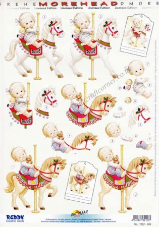 Morehead Children Riding A Carousel Horse 3D Die Cut Decoupage Sheet